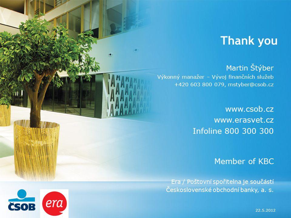 22.5.2012 Thank you Martin Štýber Výkonný manažer – Vývoj finančních služeb +420 603 800 079, mstyber@csob.cz www.csob.cz www.erasvet.cz Infoline 800