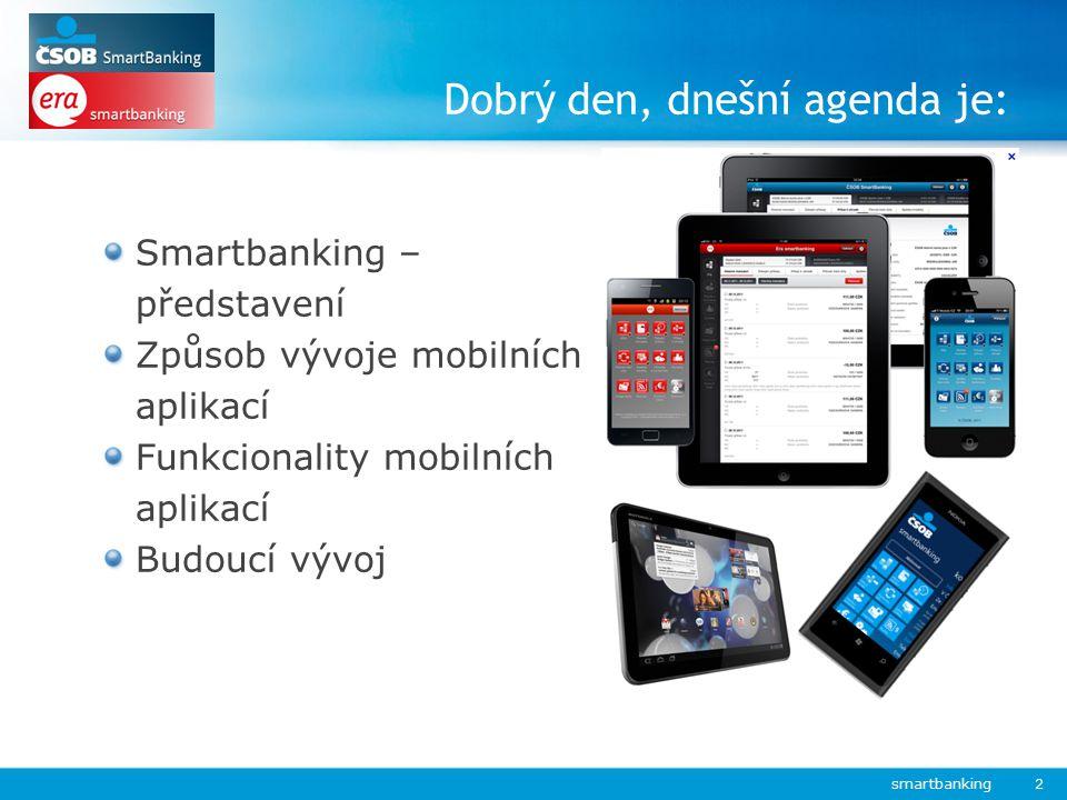 Smartbanking – představení Způsob vývoje mobilních aplikací Funkcionality mobilních aplikací Budoucí vývoj Dobrý den, dnešní agenda je: smartbanking 2