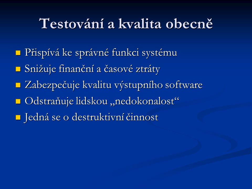 """Testování a kvalita obecně Přispívá ke správné funkci systému Přispívá ke správné funkci systému Snižuje finanční a časové ztráty Snižuje finanční a časové ztráty Zabezpečuje kvalitu výstupního software Zabezpečuje kvalitu výstupního software Odstraňuje lidskou """"nedokonalost Odstraňuje lidskou """"nedokonalost Jedná se o destruktivní činnost Jedná se o destruktivní činnost"""