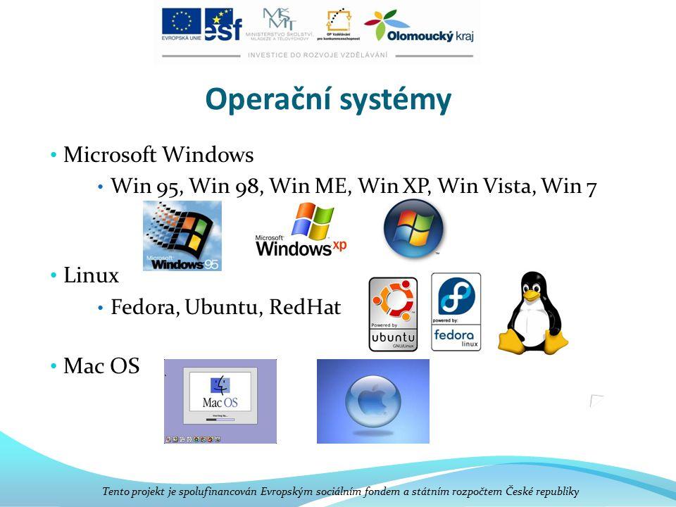 Operační systémy Microsoft Windows Win 95, Win 98, Win ME, Win XP, Win Vista, Win 7 Linux Fedora, Ubuntu, RedHat Mac OS Tento projekt je spolufinancován Evropským sociálním fondem a státním rozpočtem České republiky