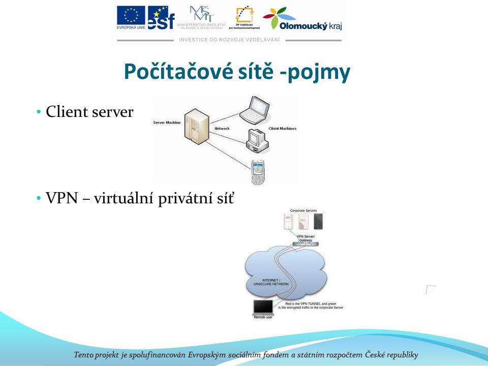 Počítačové sítě -pojmy Client server VPN – virtuální privátní síť Tento projekt je spolufinancován Evropským sociálním fondem a státním rozpočtem Česk