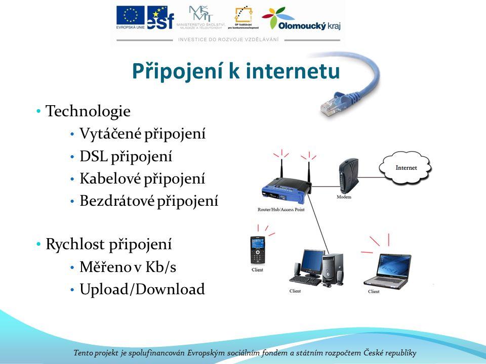 Připojení k internetu Technologie Vytáčené připojení DSL připojení Kabelové připojení Bezdrátové připojení Rychlost připojení Měřeno v Kb/s Upload/Download Tento projekt je spolufinancován Evropským sociálním fondem a státním rozpočtem České republiky
