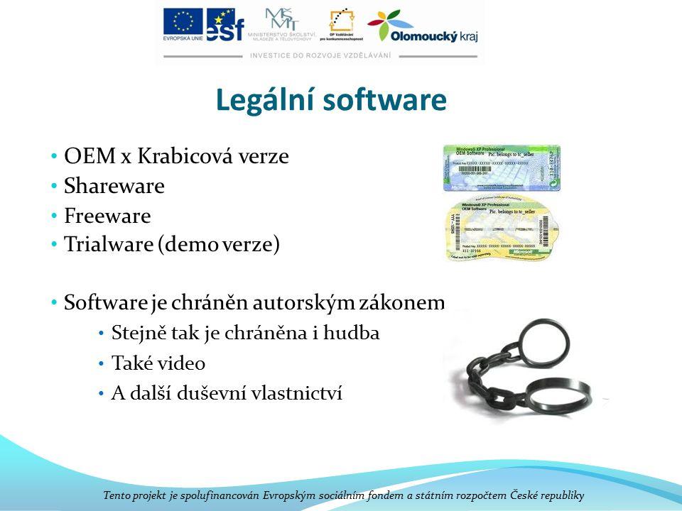 Legální software OEM x Krabicová verze Shareware Freeware Trialware (demo verze) Software je chráněn autorským zákonem Stejně tak je chráněna i hudba Také video A další duševní vlastnictví Tento projekt je spolufinancován Evropským sociálním fondem a státním rozpočtem České republiky
