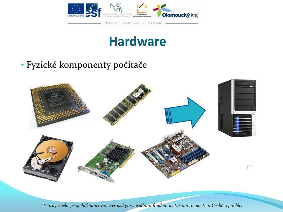Hardware Fyzické komponenty počítače Tento projekt je spolufinancován Evropským sociálním fondem a státním rozpočtem České republiky