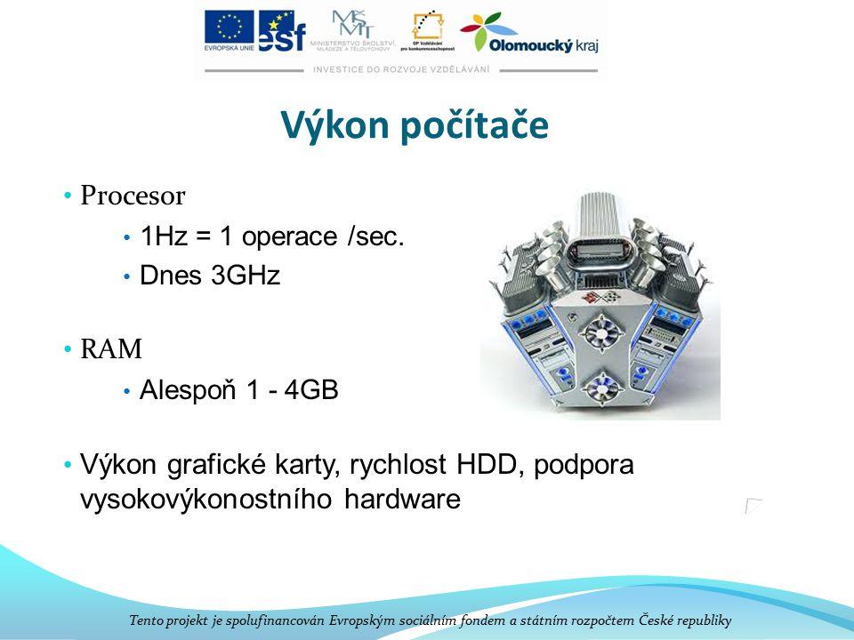 Software Programové vybavení počítače Tento projekt je spolufinancován Evropským sociálním fondem a státním rozpočtem České republiky