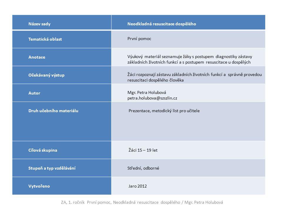 Název sady Neodkladná resuscitace dospělého Tematická oblast První pomoc Anotace Výukový materiál seznamuje žáky s postupem diagnostiky zástavy základních životních funkcí a s postupem resuscitace u dospělých Očekávaný výstup Žáci rozpoznají zástavu základních životních funkcí a správně provedou resuscitaci dospělého člověka Autor Mgr.