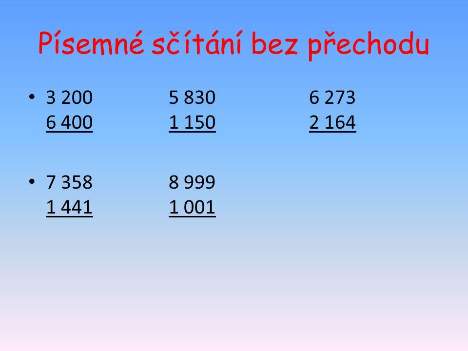 Písemné sčítání bez přechodu 3 2005 8306 273 6 4001 1502 164 7 3588 999 1 4411 001