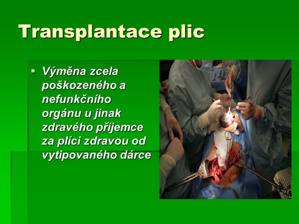 Transplantace plic  Výměna zcela poškozeného a nefunkčního orgánu u jinak zdravého příjemce za plíci zdravou od vytipovaného dárce