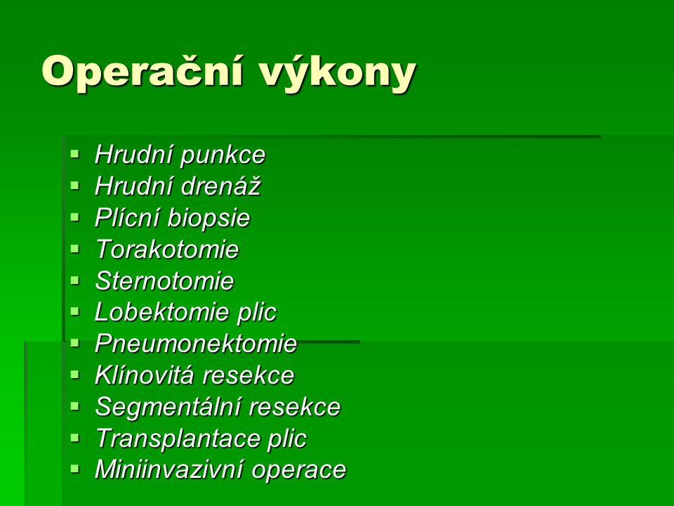 Operační výkony  Hrudní punkce  Hrudní drenáž  Plícní biopsie  Torakotomie  Sternotomie  Lobektomie plic  Pneumonektomie  Klínovitá resekce 