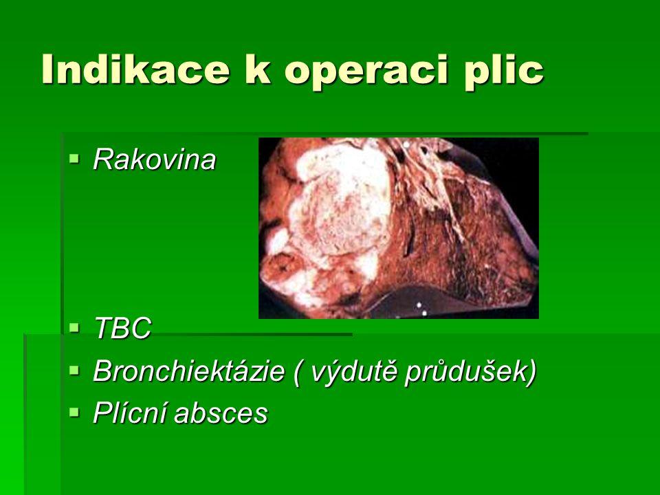 Indikace k operaci plic  Rakovina  TBC  Bronchiektázie ( výdutě průdušek)  Plícní absces