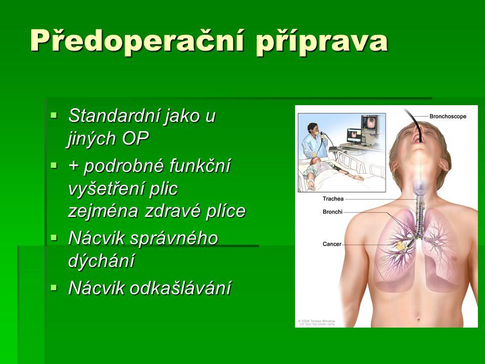 Předoperační příprava  Standardní jako u jiných OP  + podrobné funkční vyšetření plic zejména zdravé plíce  Nácvik správného dýchání  Nácvik odkašlávání