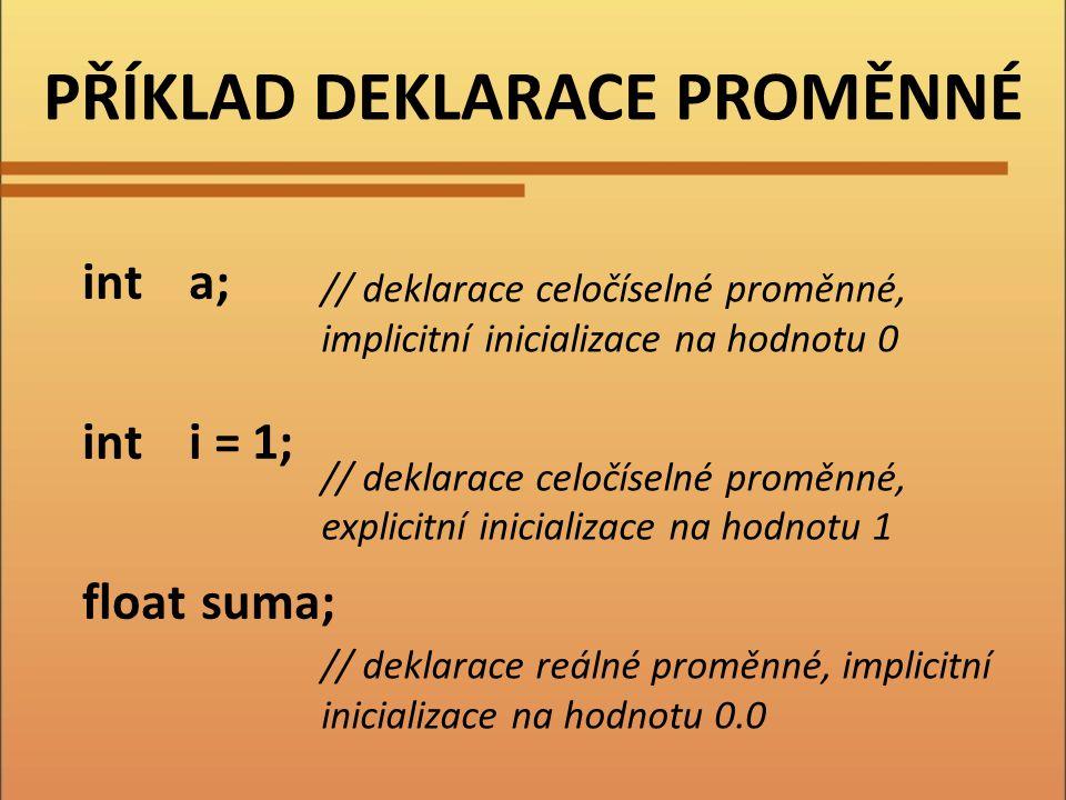 DEKLARACE KONSTANTY jméno paměťový prostor hodnotu Konstantě přidělí: Provádíme před prvním použitím konstanty.