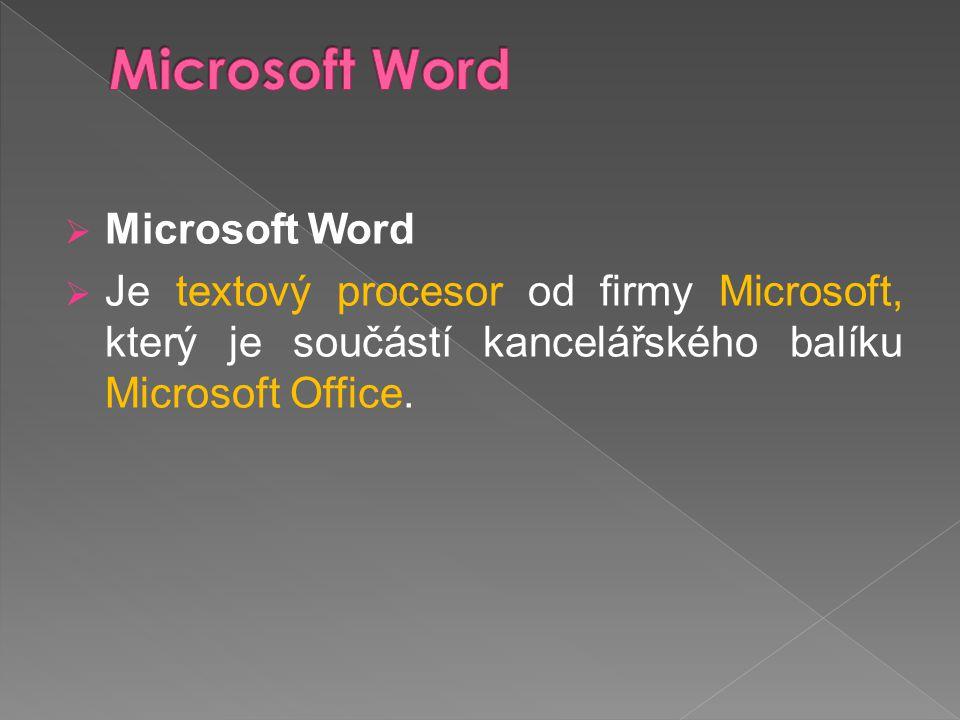  Microsoft Word  Je textový procesor od firmy Microsoft, který je součástí kancelářského balíku Microsoft Office.