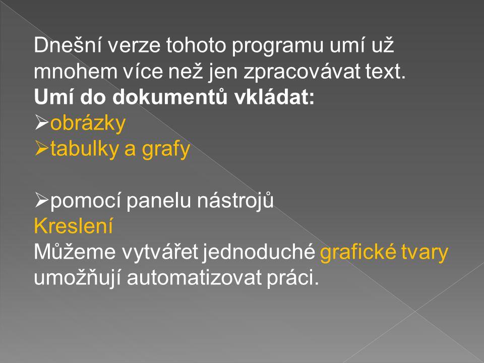 Dnešní verze tohoto programu umí už mnohem více než jen zpracovávat text. Umí do dokumentů vkládat:  obrázky  tabulky a grafy  pomocí panelu nástro