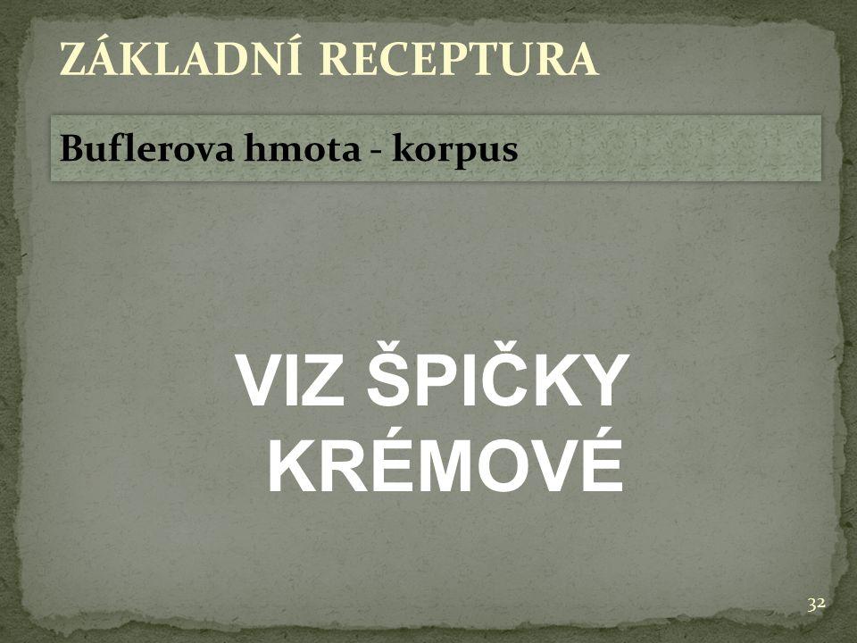32 ZÁKLADNÍ RECEPTURA Buflerova hmota - korpus VIZ ŠPIČKY KRÉMOVÉ