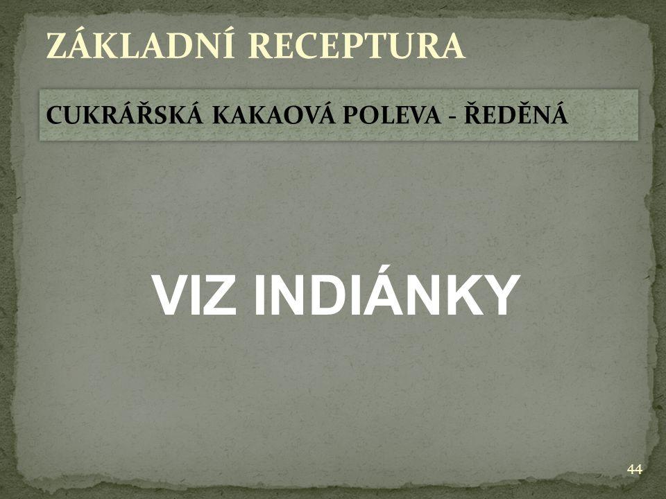 44 ZÁKLADNÍ RECEPTURA CUKRÁŘSKÁ KAKAOVÁ POLEVA - ŘEDĚNÁ VIZ INDIÁNKY