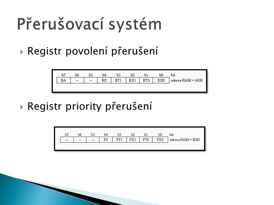  Doplň a popiš Doplň: INT0,TI,TF0,TF1,RI, příznakové/externí bity, povolovací bity, bity pro volbu priority, rozhodovací obvod, individuální povolení, globální povolení