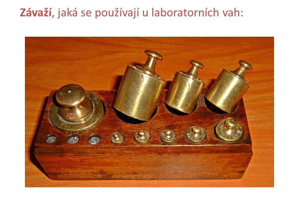 Závaží, jaká se používají u laboratorních vah:
