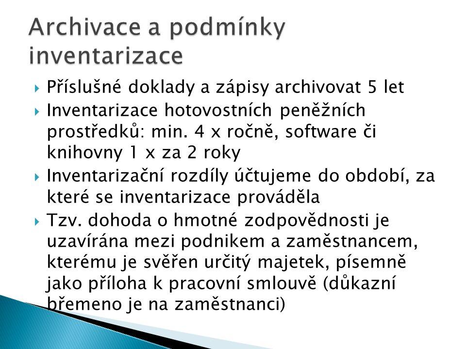  Příslušné doklady a zápisy archivovat 5 let  Inventarizace hotovostních peněžních prostředků: min.
