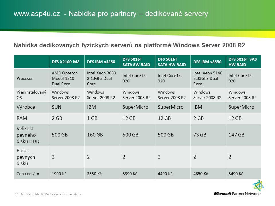 www.asp4u.cz - Nabídka pro partnery – dedikované servery Nabídka dedikovaných fyzických serverů na platformě Windows Server 2008 R2 Ivo Machulda, WEB4