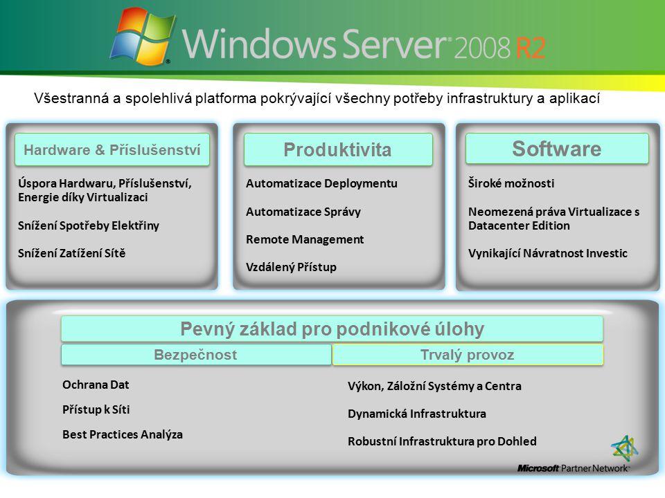 Všestranná a spolehlivá platforma pokrývající všechny potřeby infrastruktury a aplikací Produktivita Software Hardware & Příslušenství Široké možnosti