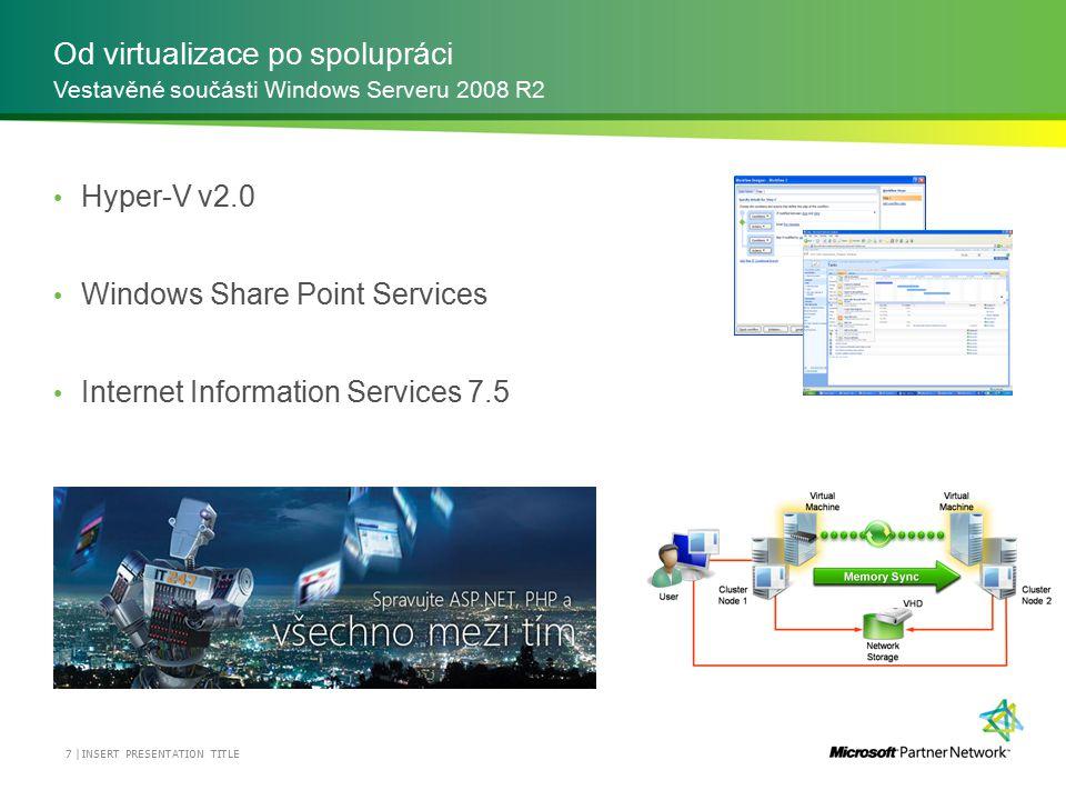 Od virtualizace po spolupráci Hyper-V v2.0 Windows Share Point Services Internet Information Services 7.5 Vestavěné součásti Windows Serveru 2008 R2 7 | INSERT PRESENTATION TITLE