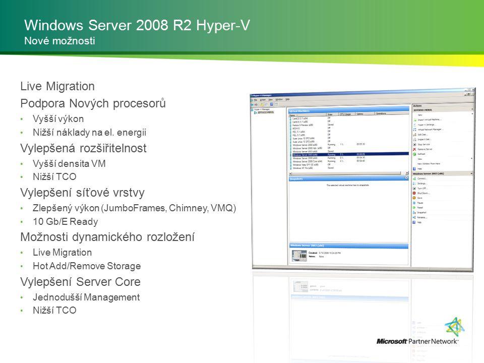 Windows Server 2008 R2 Hyper-V Nové možnosti Live Migration Podpora Nových procesorů Vyšší výkon Nižší náklady na el. energii Vylepšená rozšiřitelnost