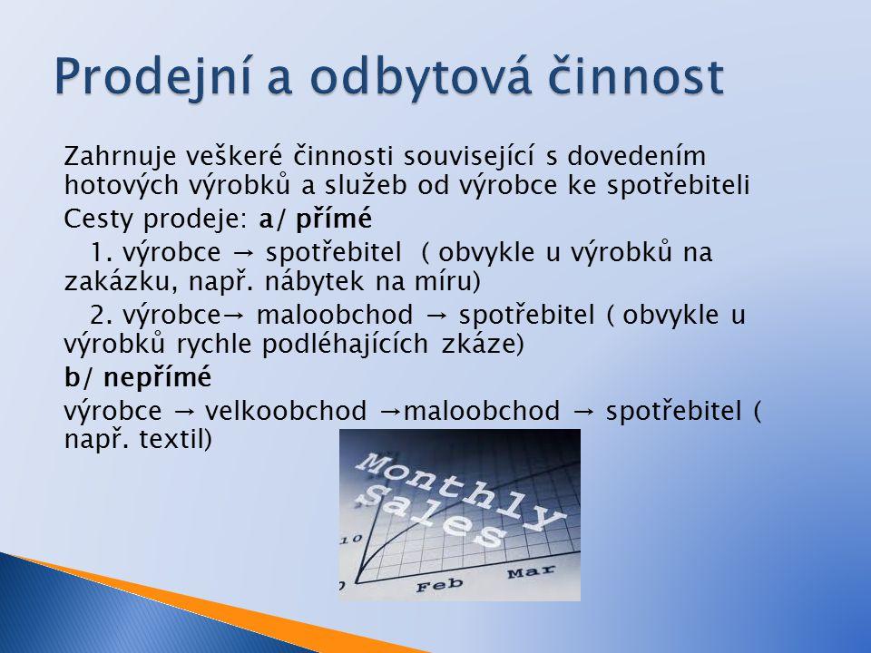 Zahrnuje veškeré činnosti související s dovedením hotových výrobků a služeb od výrobce ke spotřebiteli Cesty prodeje: a/ přímé 1.