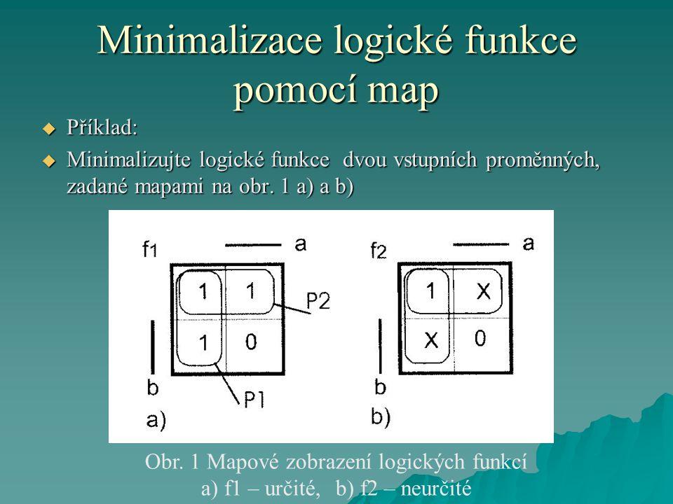 Minimalizace logické funkce pomocí map  Příklad:  Minimalizujte logické funkce dvou vstupních proměnných, zadané mapami na obr.