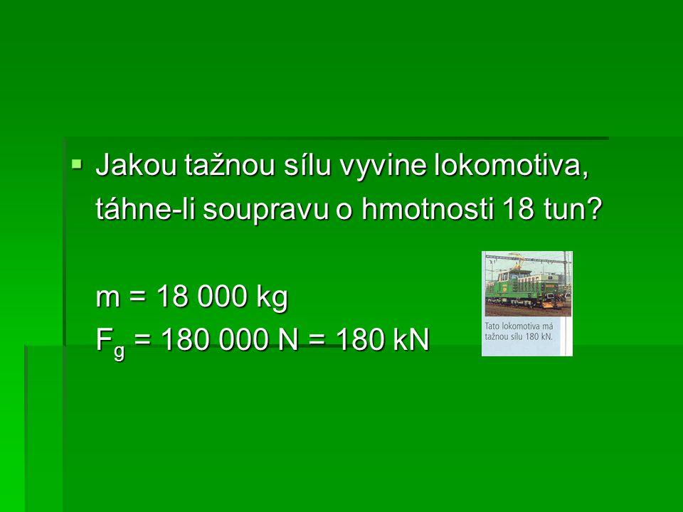  Jakou tažnou sílu vyvine lokomotiva, táhne-li soupravu o hmotnosti 18 tun.