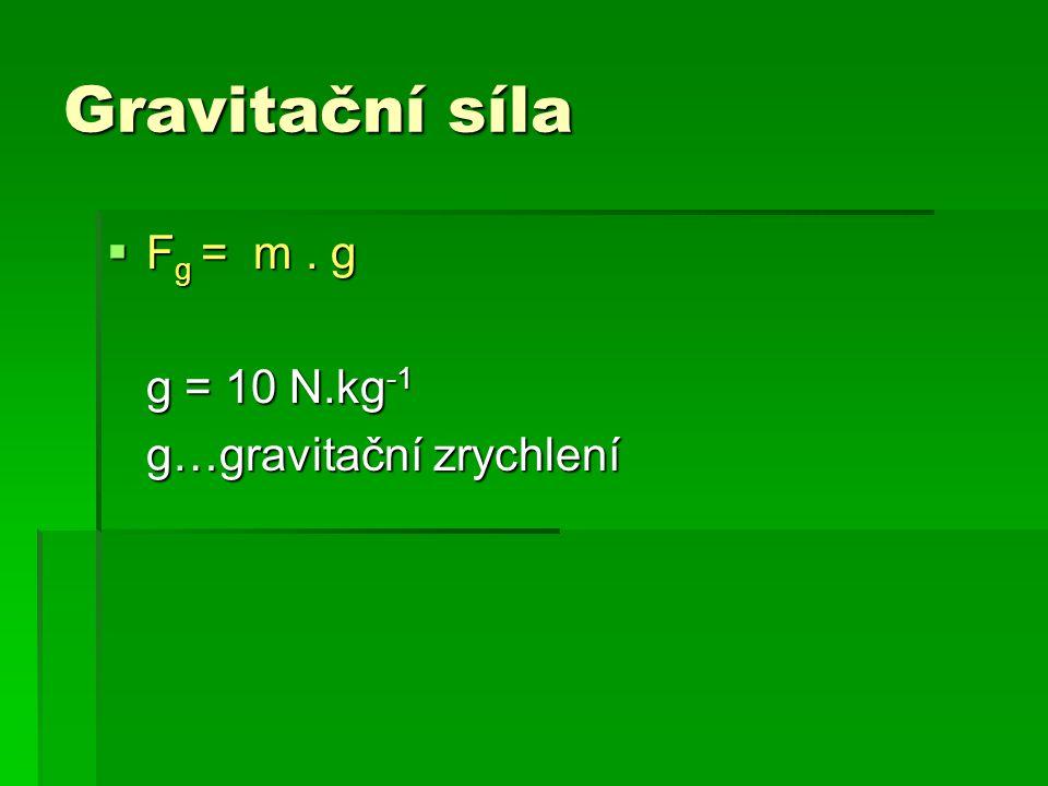 Gravitační síla  F g = m. g g = 10 N.kg -1 g…gravitační zrychlení