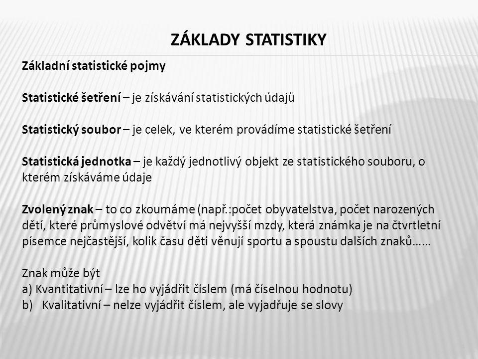 ZÁKLADY STATISTIKY 5 Výsledky statistických šetření mají být uspořádané a přehledné K tomu slouží tabulky a také grafické vyjádření – grafy, diagramy např.: bodové diagramy, spojnicové, sloupkové a kruhové Otevři stránku – www.czso.cz – prohlédni si různé statistiky a jejich grafická znázorněníwww.czso.cz