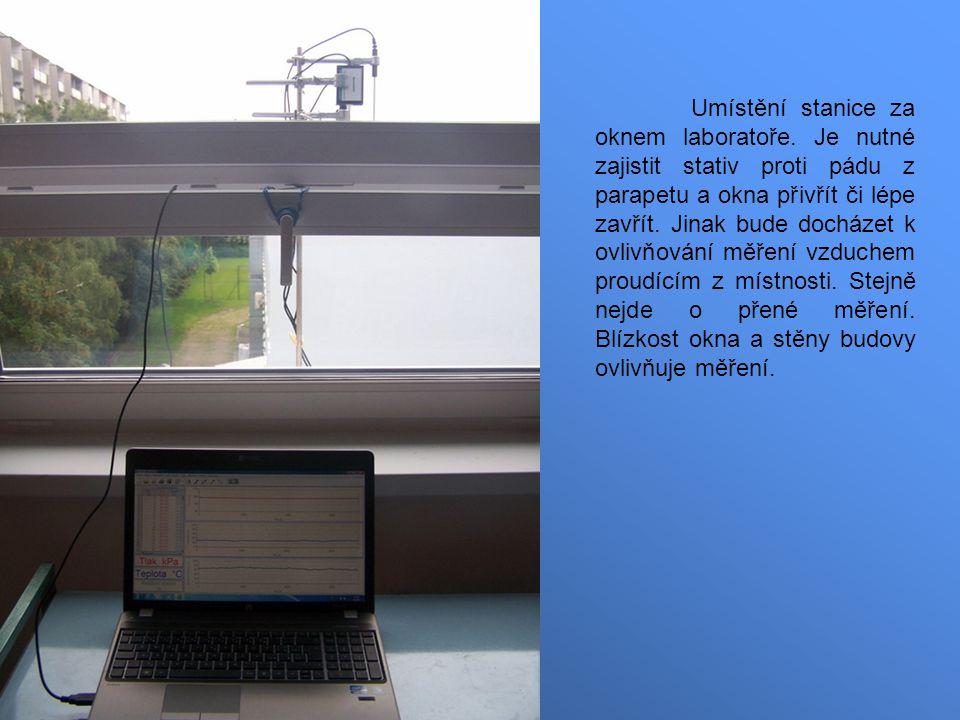 Umístění stanice za oknem laboratoře.