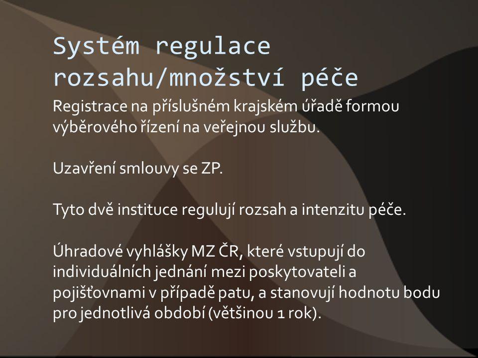 Systém regulace rozsahu/množství péče Registrace na příslušném krajském úřadě formou výběrového řízení na veřejnou službu. Uzavření smlouvy se ZP. Tyt