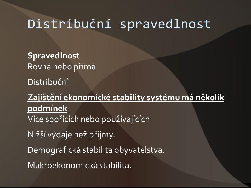 Distribuční spravedlnost Spravedlnost Rovná nebo přímá Distribuční Zajištění ekonomické stability systému má několik podmínek Více spořících nebo použ