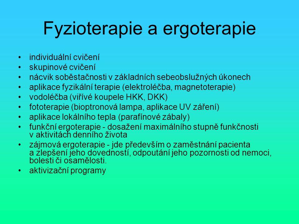 Fyzioterapie a ergoterapie individuální cvičení skupinové cvičení nácvik soběstačnosti v základních sebeobslužných úkonech aplikace fyzikální terapie