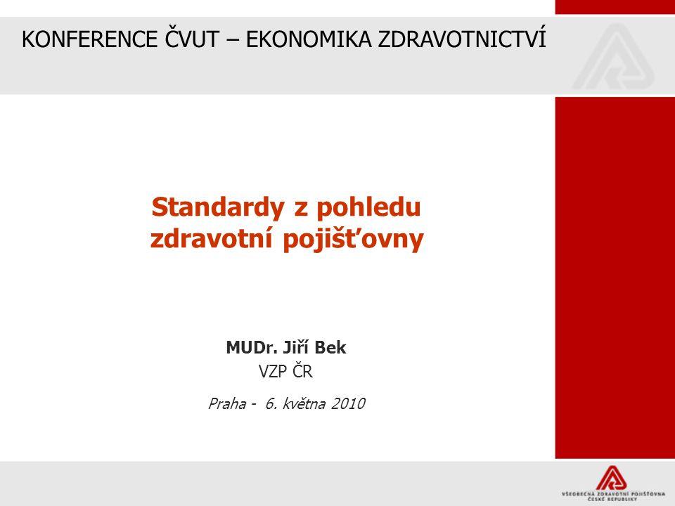 Standardy z pohledu zdravotní pojišťovny MUDr. Jiří Bek VZP ČR Praha - 6. května 2010 KONFERENCE ČVUT – EKONOMIKA ZDRAVOTNICTVÍ