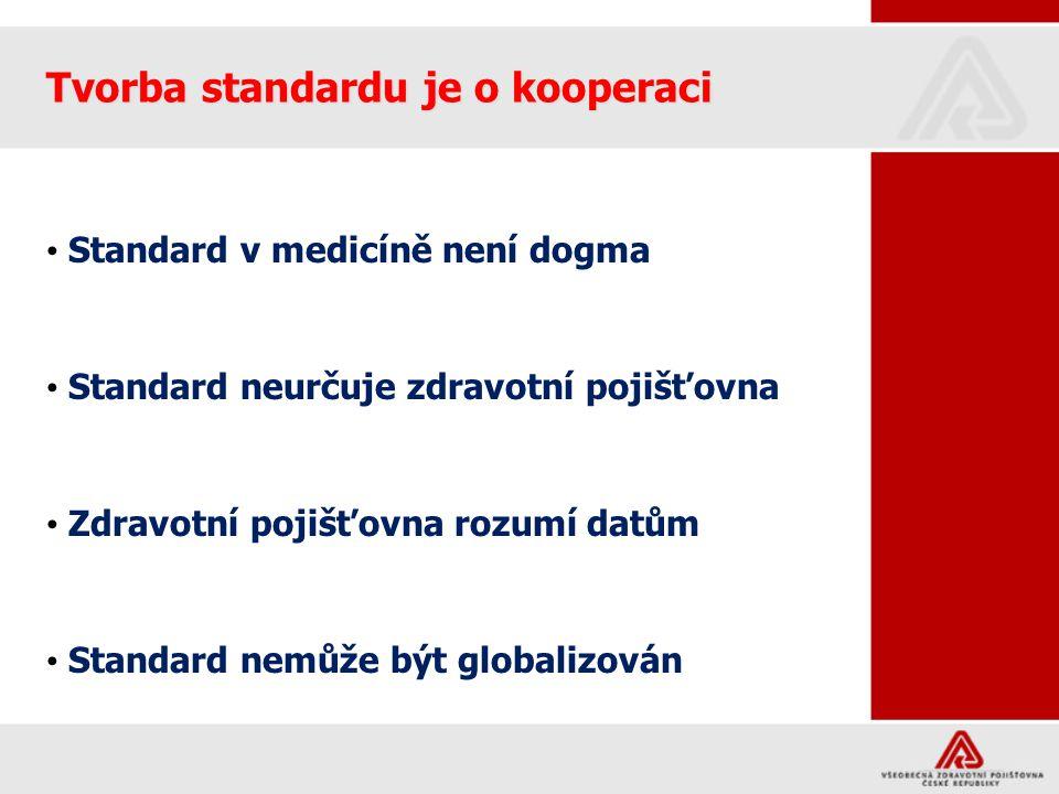 Tvorba standardu je o kooperaci Standard v medicíně není dogma Standard neurčuje zdravotní pojišťovna Zdravotní pojišťovna rozumí datům Standard nemůž