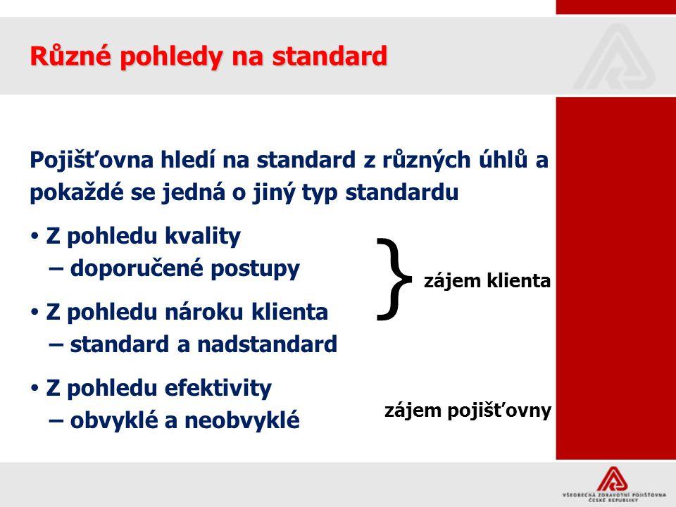 Různé pohledy na standard Pojišťovna hledí na standard z různých úhlů a pokaždé se jedná o jiný typ standardu  Z pohledu kvality – doporučené postupy