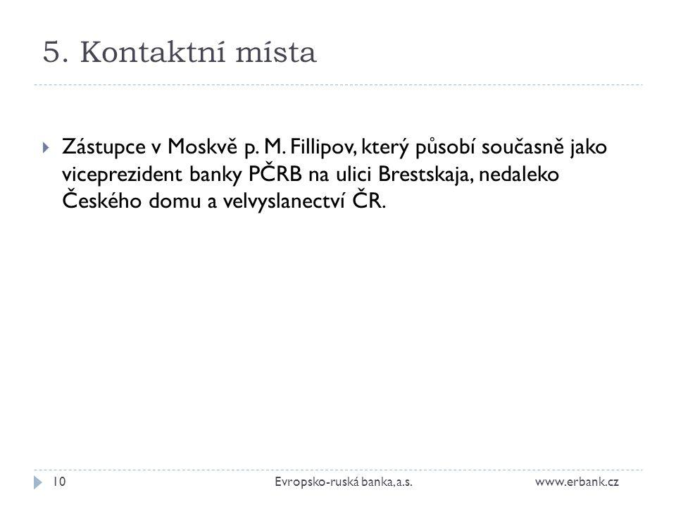 5.Kontaktní místa 10Evropsko-ruská banka, a.s. www.erbank.cz  Zástupce v Moskvě p.