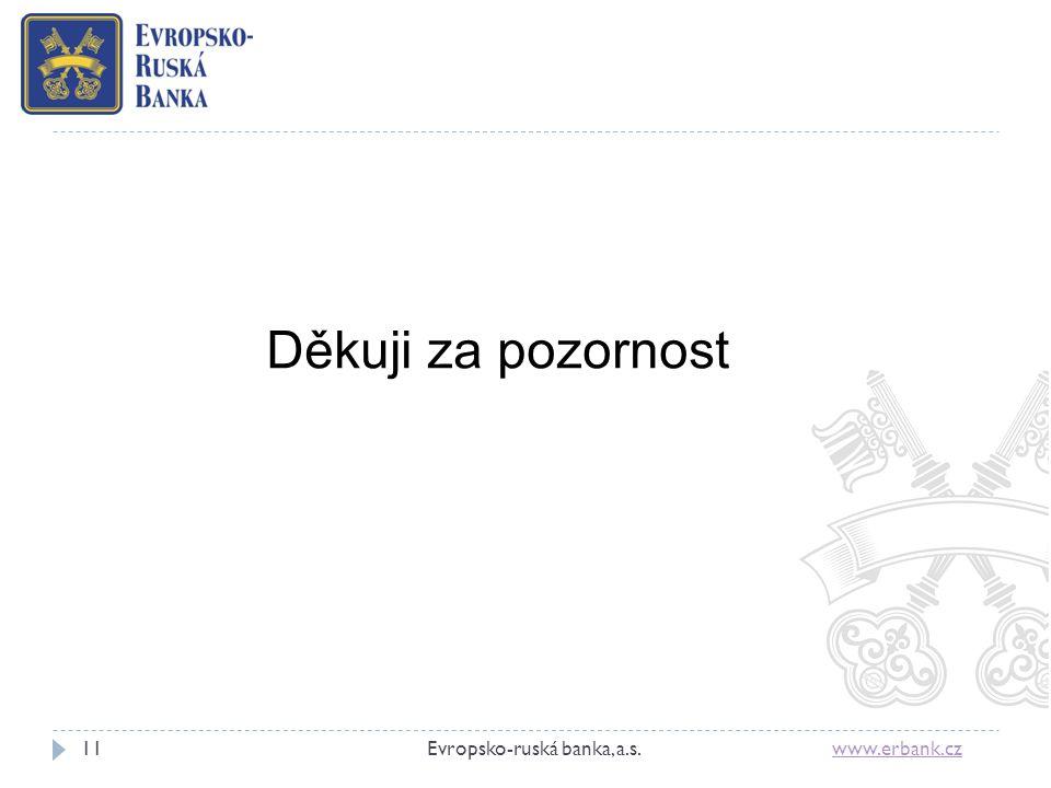 11Evropsko-ruská banka, a.s. www.erbank.czwww.erbank.cz Děkuji za pozornost