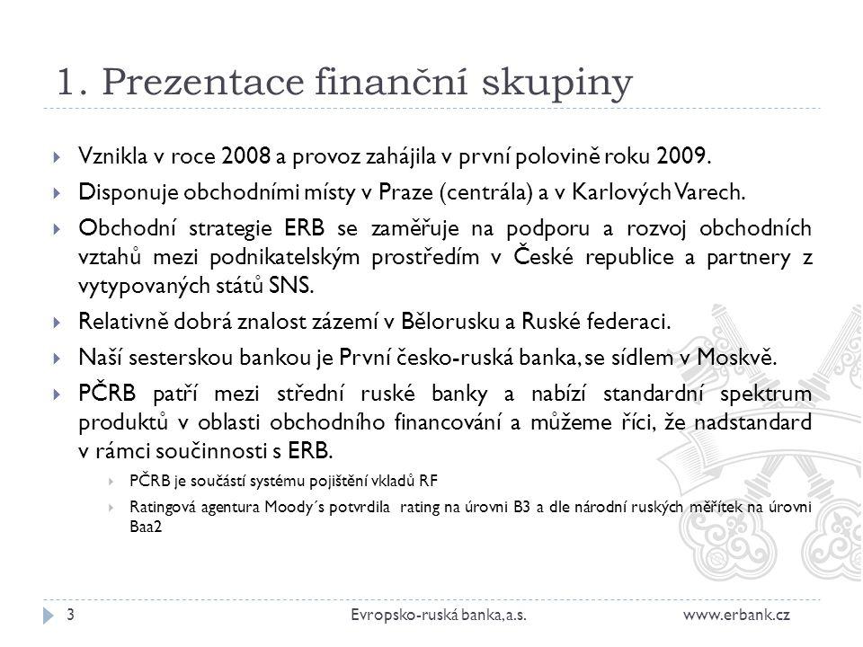 1. Prezentace finanční skupiny  Vznikla v roce 2008 a provoz zahájila v první polovině roku 2009.  Disponuje obchodními místy v Praze (centrála) a v