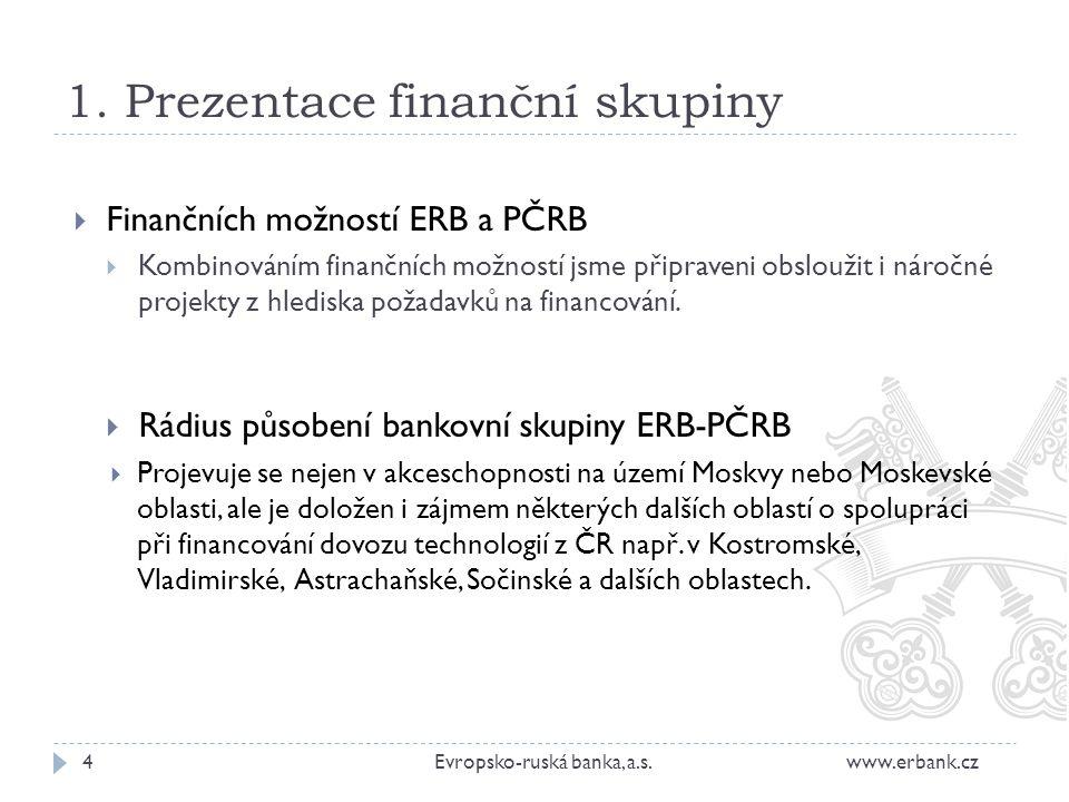 1. Prezentace finanční skupiny  Finančních možností ERB a PČRB  Kombinováním finančních možností jsme připraveni obsloužit i náročné projekty z hled