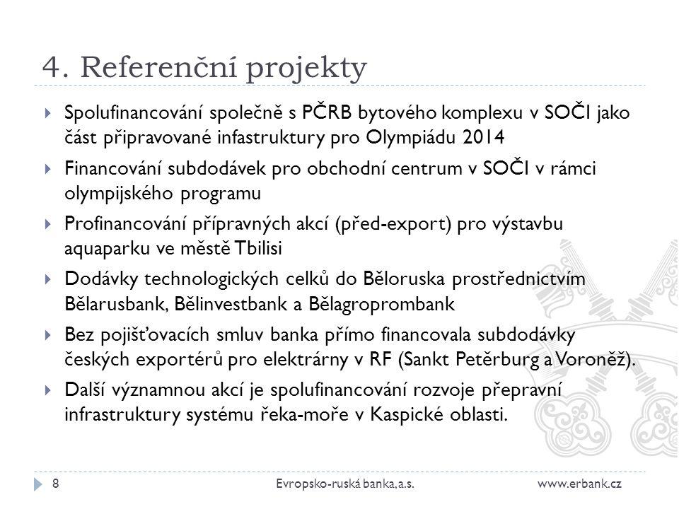 4. Referenční projekty 8Evropsko-ruská banka, a.s. www.erbank.cz  Spolufinancování společně s PČRB bytového komplexu v SOČI jako část připravované in