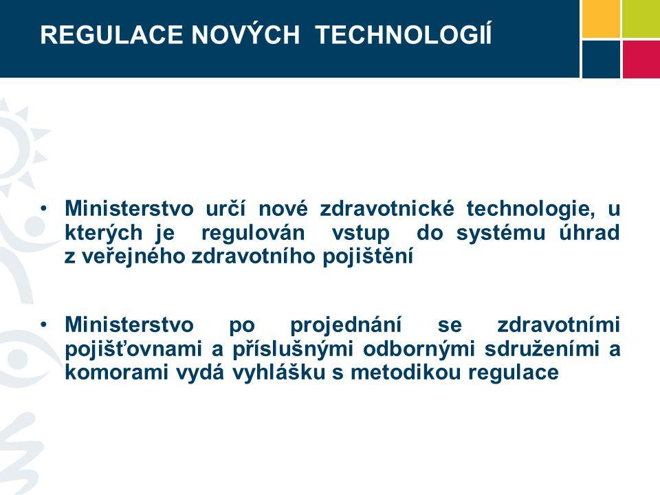 REGULACE NOVÝCH TECHNOLOGIÍ Ministerstvo určí nové zdravotnické technologie, u kterých je regulován vstup do systému úhrad z veřejného zdravotního pojištění Ministerstvo po projednání se zdravotními pojišťovnami a příslušnými odbornými sdruženími a komorami vydá vyhlášku s metodikou regulace