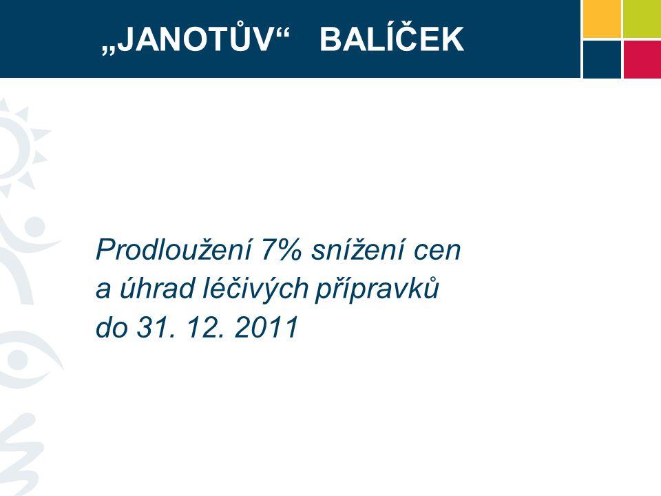 """""""JANOTŮV BALÍČEK Prodloužení 7% snížení cen a úhrad léčivých přípravků do 31. 12. 2011"""