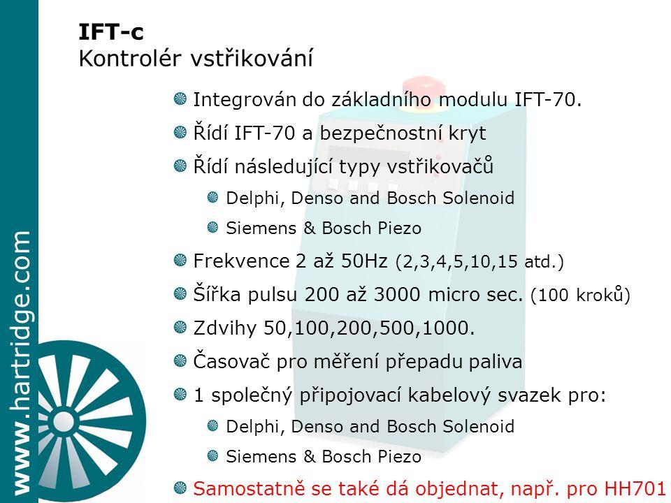 www.hartridge.com Integrován do základního modulu IFT-70. Řídí IFT-70 a bezpečnostní kryt Řídí následující typy vstřikovačů Delphi, Denso and Bosch So