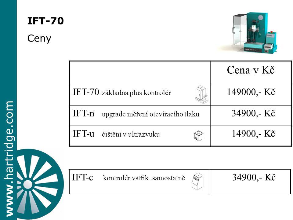 www.hartridge.com IFT-70 Ceny Cena v Kč IFT-70 základna plus kontrolér 149000,- Kč IFT-n upgrade měření otevíracího tlaku 34900,- Kč IFT-u čištění v u