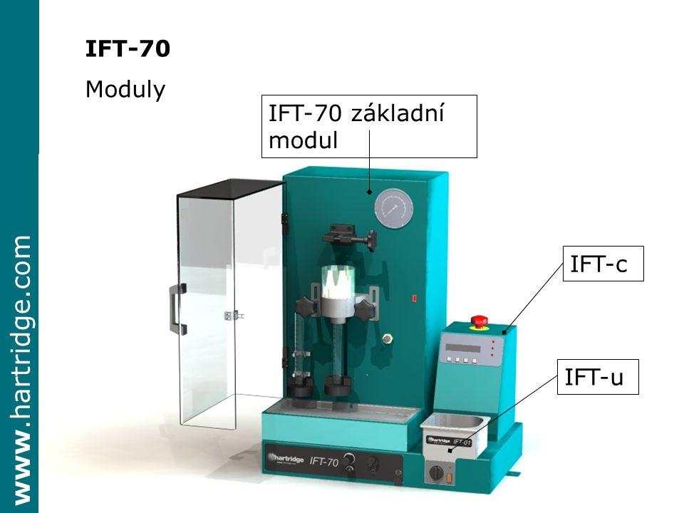www.hartridge.com IFT-70 Moduly IFT 70 základní modul zajišťuje test vstřikovačů CR součástí je kontrolér – signální generátor IFT-c IFT-c je dodáván se základním modulem IFT-70 řídí vstřikovače základního modulu IFT-70 řídí všechny druhy vstřikovačů včetně piezo kontrolér IFT-c se dá objednat odděleně HH700 & 701 IFT-u ultrazvuková čistička obsah 1.5 litru K dispozici spolu s IFT 70 nebo zcela samostatně IFT-n nadstandard k dispozici měření otevíracího tlaku