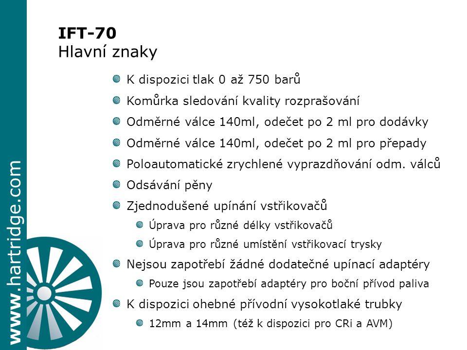 www.hartridge.com IFT-70 Hlavní znaky K dispozici tlak 0 až 750 barů Komůrka sledování kvality rozprašování Odměrné válce 140ml, odečet po 2 ml pro do